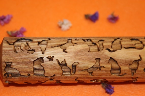 Gifts for a cat lover - laser cut rolling pin