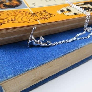 Gifts for a cat lover - silver necklace and charm