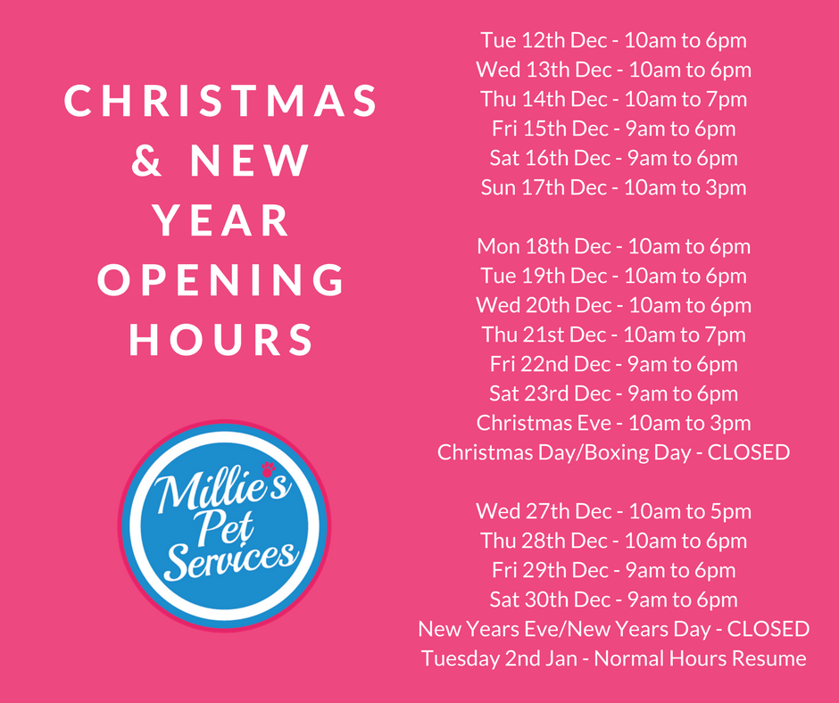 Millie's Pet Services Christmas and New Year
