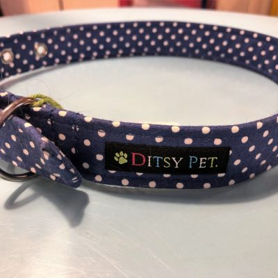 navy_spot_dog_collar_ditsy_pet
