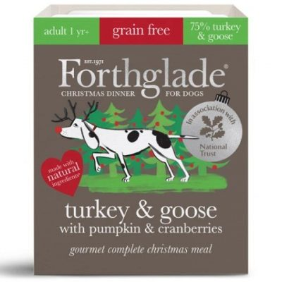 Forthglade: Gourmet Christmas edition turkey & goose natural wet dog food with pumpkin & cranberries (395g)