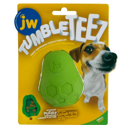 jw-tumble-teez-treat-toy-small-green-canine-enrichment-dog-toy